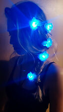 3-Pack BLUE LED Flower Clip Pins for Hair- Festival, Concerts, Rave, Dance, Club