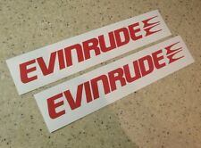 Evinrude Outboard Vintage Decal Die-Cut RED 2-PAK FREE SHIP + FREE Fish Decal