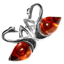 1.52g Swan Authentic Baltic Amber 925 Sterling Silver Earrings Jewelry A8467