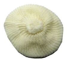 NUOVO BERRETTO DONNA BIANCO PON PON LANA WOOL NEW WHITE CAP HAT HUT MADE ITALY
