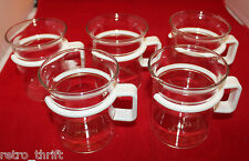Bodum Bistro Short Hot Iced Clear Glass Coffee Tea Mug Cup Set of 5 White Handle