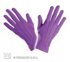 Short Mens Gloves Purple  Cartoon Gothic Halloween Fancy Dress Accessory