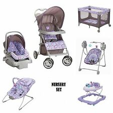 6 Pc. Nursrery Baby Set Infant Stroller Car Seat Play Yard Walker Bouncer Swing
