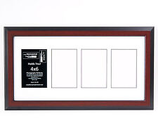 4 Opening 4x6 Glass Face Mahogany Picture Frame W/ 10x20 White Mat Collage