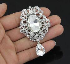 Fashion Clear Crystal Rhinestone Dangle Teardrop Brooch Pin Party Wedding Bridal