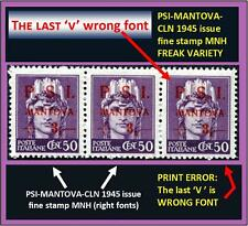 Three stamps PSI-MANTOVA 1945 CLN: two fine MNH and one FREAK PRINT ERROR (#413)