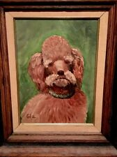 Vintage Unique Oil Painting Signed dogs �� STANDARD FRENCH POODLE