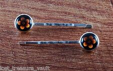 "LTV Creation Bobby Pin Pair ""Hawaii Flower"" Round Glass Top Hair Pin Accessory"