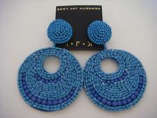 Kenneth Jay Lane Seed bead Gypsy Drop Earrings Lapis Blue Post New