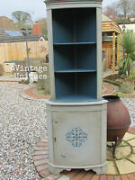 SHABBY CHIC PAINTED VINTAGE CABINET DISPLAY CORNER UNIT DELIVERY AVAILABLE