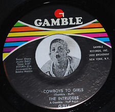 """Philly Soul 45~THE INTRUDERS~Cowboys To Girls/Turn The Hands~Gamble CLEAN 7"""" NOS"""