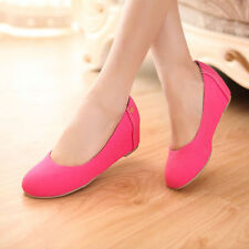 Women Gilrs Mid Wedge Heel Slip on Pumps Suede Comfort Shoes Boots Plus Size