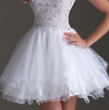 Women's White Bling Homecoming Formal Gown Ball Party Evening Prom Dress Short