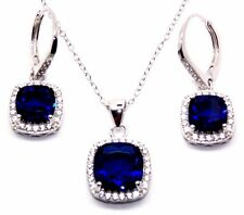 Argento Sterling Blu Zaffiro E Diamante 8.46ct Set Collana cluster (925)