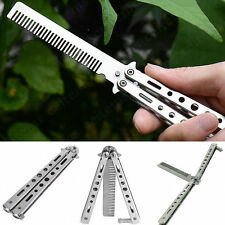 Premium Stainless Steel Butterfly Balisong Comb Trainer Training Knife Dull Tool