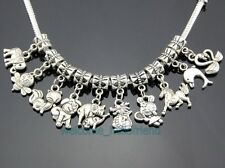 50pcs Tibetan Silver Horse Bee Dig Rabbit Mixed Dangle Charms For Bracelet ZY019