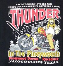 Thunder In The Pineywoods Tee Nacogdoches TX Jaycees Sheriffs Motorcycles 46""