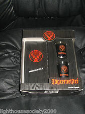Jagermeister Shot Glasses 2 Faux Leather Wrapped Stainless Steel Bar Liquor Mint