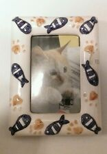 """New Ceramic Cat Food & Fish Picture Frame Easel Back Picture 2.25"""" x 3.5"""" Photo"""