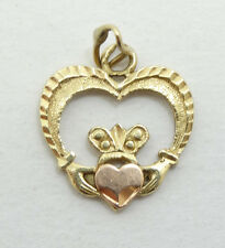 Pretty 14K Yellow and Rose Gold Open Heart Claddagh Charm Pendant A2071