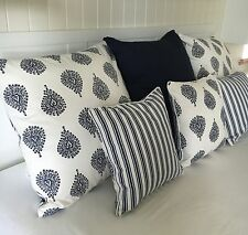 Large Cushion Cover Navy White Stripe Paisley Ornamental Blue Euro Scatter Case