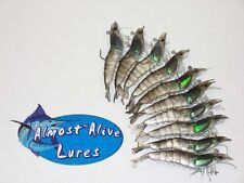 """Almost Alive Lures Artificial Soft Plastic (10) 4-1/4"""" Hooked Shrimp Black/Clear"""