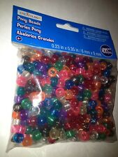 Large Bag 400 Glittery Color Pony Beads Rainbow Cra-Z-Loom Refill Kit Blue Pink