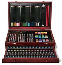142-Piece Wood Art Set - Sturdy Protective Case w/ Crayons Pastels & Pencils