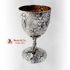 Ornate Repousse Large Goblet Sterling Silver Grape and Vine Decorations