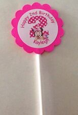 Minnie Mouse Hot Pink Birthday Customized Cupcake Toppers 12 count