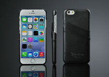 """GENUINE LEATHER CASE WITH TWO CARD SLOT FOR APPLE IPHONE 6 6S PLUS 5.5""""+ SCREEN"""