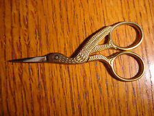 "New 3 1/2"" Pro Quality Stork Embroidery Scissors - Gold Plated"