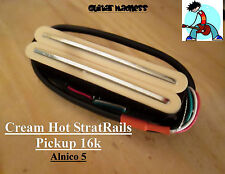 G.M. Hot Railcasters Cream Strat Sized Humbucker Rail pickups Alnico 5