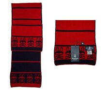 PSYCHO BUNNY Navy/Red Stripes Double Face Lambswool Winter Scarf 68X8.5 NWT