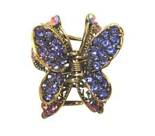 Purple Crystal Butterfly Design Hair Accessory Claw Clip with Antique Gold Metal