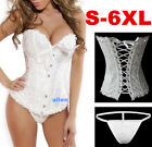 A1B Sexy Basque Pattern White Corset Lingerie Boned Lace Up Bustier G-string Top