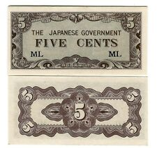 MALAYA 5 CENTS JAPANESE OCCUPATION WWII 1942 UNC P M2 a