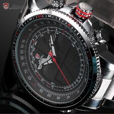 SHARK New Mens Quartz Army Wrist Watch Black Red LCD Stopwatch Stainless Steel