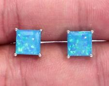 ***NEW** STERLING SILVER 925 BLUE LAB FIRE OPAL SQUARE  STUD Earrings 5x5mm