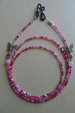 Spectacle/Glasses Chain Butterfly Daisy Flower Rose Quartz Pink Beads Beautiful