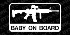 Large Baby on Board Sticker AR-15 Army Marines patriotic vinyl decal pro gun