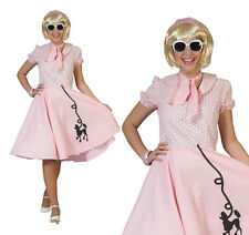 Ladies Pink Rock N Roll Poodle Fancy Dress Costume 1950S Grease Outfit UK 10-14