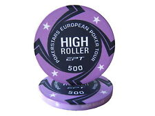 Blister da 25 fiches EPT HIGH ROLLER Replica poker Ceramica 10 gr. valore 500