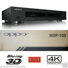 OPPO DIGITAL BDP-103 3D UNIVERSAL NETWORK BLU-RAY DVD PLAYER 4K UPSCALING NEW