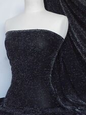 Black shimmer slinky 4 way stretch fabric Q1183 BK