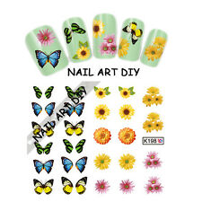Stickers-Decals Nail Art water transfer-Adesivi Unghie-Farfalle e Fiori !!!