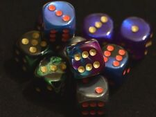 Rare Dice Set Gemini Borealis Velvet Scarab 16mm D6 Chessex 10 D&D Bag Limited