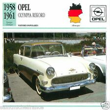 OPEL OLYMPIA RECORD 1958 1961 CAR VOITURE GERMANY DEUTSCHLAND CARTE CARD FICHE
