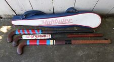 Lot of 3 Vintage Field Hockey Sticks Gryphon Other Fiber Glass Mohinder Bag
