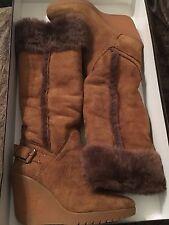 CELINE designer Camel Color shearling wedge knee high sheepskin boots Size 5B